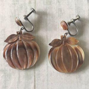 Vintage Pumpkin Earrings - Screw back